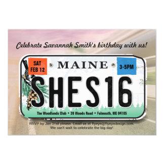 Girl's 16th Birthday Maine License Invitation