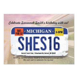 Girl's 16th Birthday Michigan License Invitation