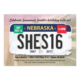 Girl's 16th Birthday Nebraska License Invitation