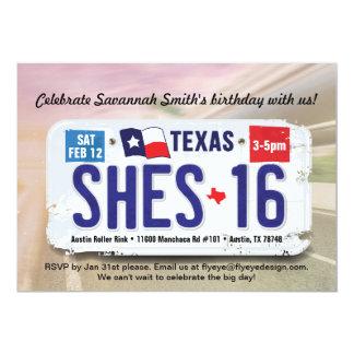Girl's 16th Birthday Texas License Invitation