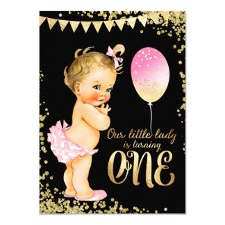 "Girls 1st Birthday Gold Foil Glitter 4.5"" X 6.25"" Invitation Card"