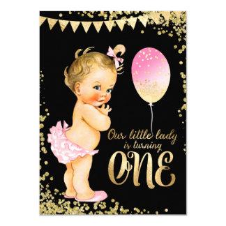 Girls 1st Birthday Gold Foil Glitter Card