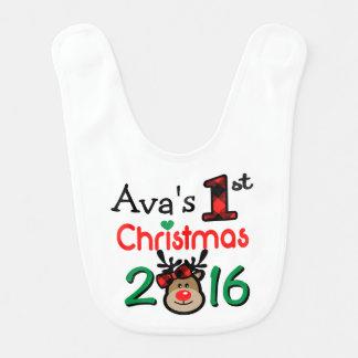 Girl's 1st Xmas Reindeer Christmas Bib