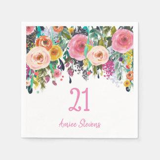 Girls 21st Birthday Party Pink Flower Peach Napkin
