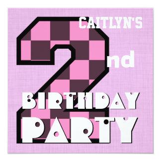 Girl's 2nd Birthday Pink CHECKS Custom Name V07 Personalized Invite