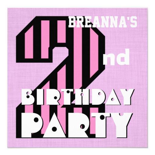 Girl's 2nd Birthday Pink STRIPES Custom Name V06 Announcements