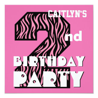 Girl's 2nd Birthday Pink ZEBRA Custom Name V08 Personalized Invitations