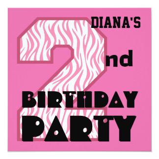 Girl's 2nd Birthday Pink ZEBRA Custom Name V09 Announcements