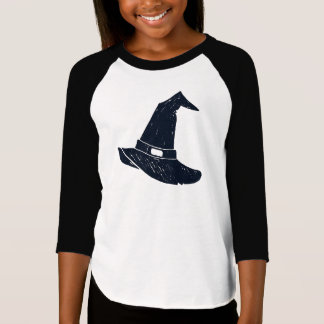 Girls 3/4 Length Sleeve Top Witch Hat Halloween