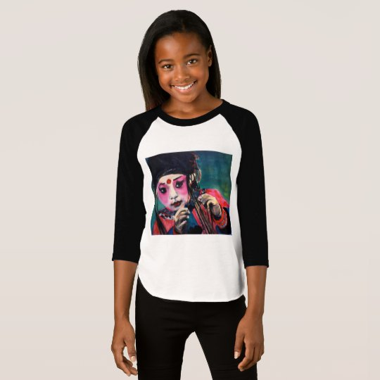Girls 3/4 sleeve shirt with Chinese dancer
