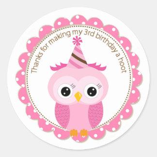 Girls 3rd Birthday Pink Owl Thank You Round Sticker