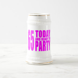 Girls 65th Birthdays : 65 Today and Ready to Party 18 Oz Beer Stein