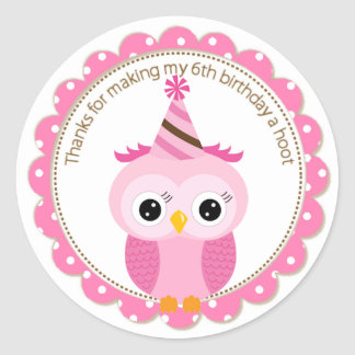 Girls 6th Birthday Pink Owl Thank You Round Sticker
