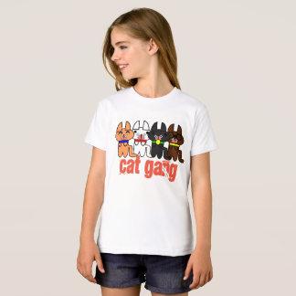 Girls' American Apparel Organic T-Shirt Cute Cat