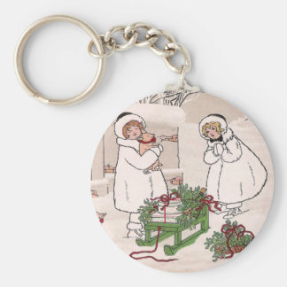 Girls and Pet Pigs Vintage Christmas Keychain