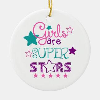Girls Are Super Stars Ceramic Ornament