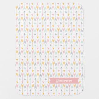 Girls Arrow Blanket | Pink, Gold, Mint, Gray