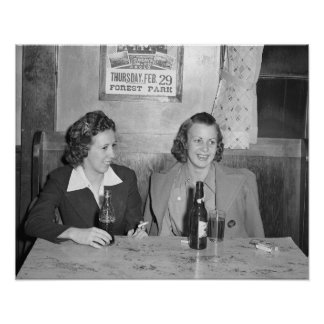 Girls at the Bar, 1940. Vintage Photo Poster