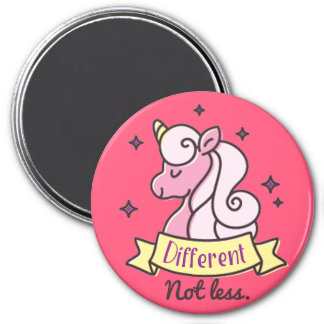 Girls Autism Awareness, Different Not Less 3 Inch Round Magnet