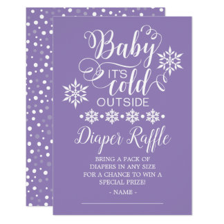Girls Baby It's Cold Outside Diaper Raffle Card