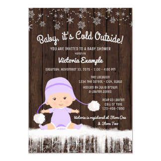 """Girls Baby its Cold Outside Winter Baby Shower 5"""" X 7"""" Invitation Card"""