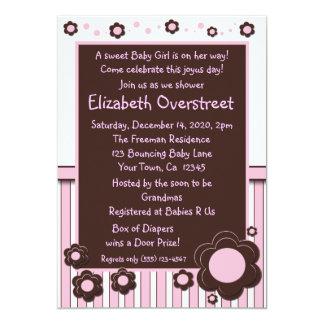 Girls Baby Pink & Modern Brown Daisy Flower Shower Card