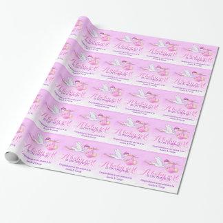 Girls Baby shower stork art pattern gift wrap