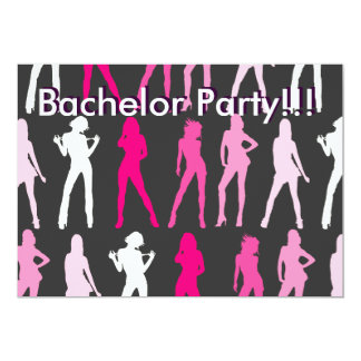 """GIRLS, Bachelor Party!!!, Bachelor Party!!! 5"""" X 7"""" Invitation Card"""