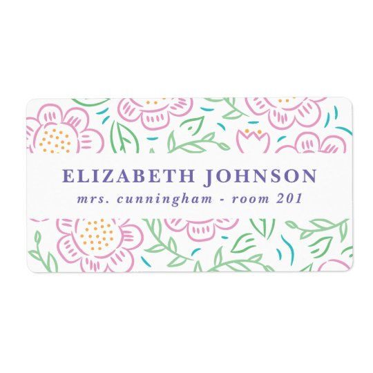 Girls Back to School Floral Label 2 Shipping Label