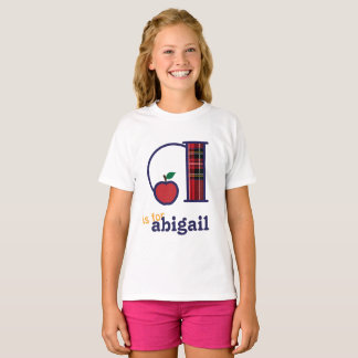 Girls Back to School Shirt Monogram A