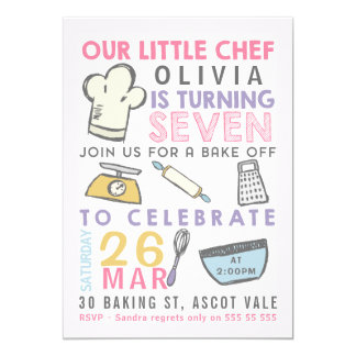 Girls Baking Cooking 7th Birthday Invitation