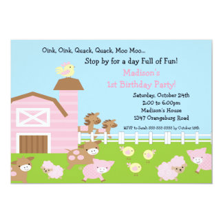 """Girls Barn Animal Fun Birthday Party 5"""" X 7"""" Invitation Card"""