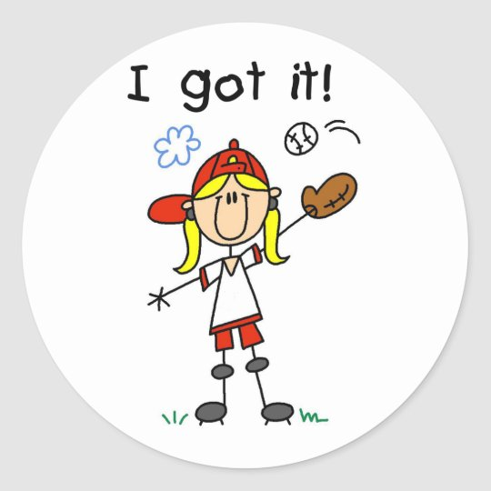 Girls Baseball I Got It Classic Round Sticker