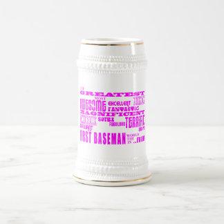 Girls Baseball : Pink Greatest First Baseman Coffee Mugs
