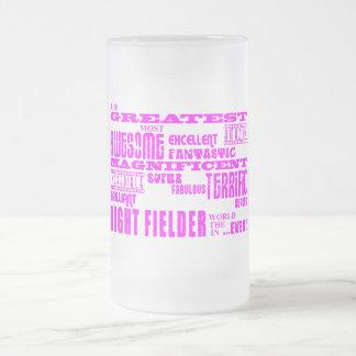 Girls Baseball : Pink Greatest Right Fielder Beer Mugs