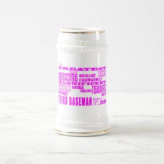 Girls Baseball : Pink Greatest Third Baseman Coffee Mugs