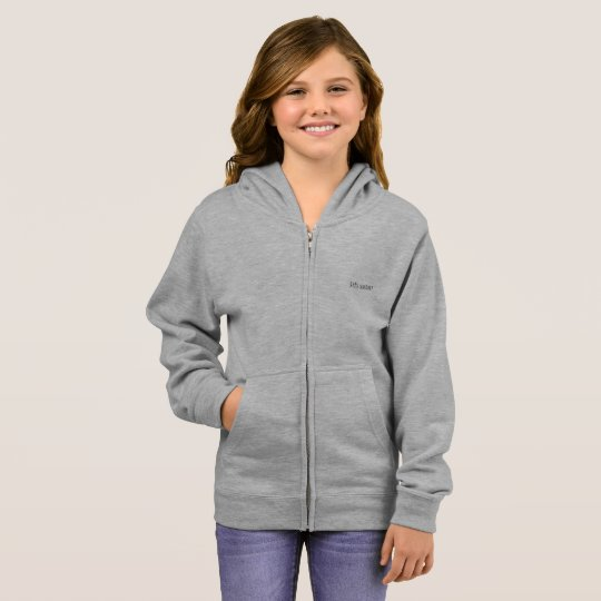 girl's basic zip hoodie grey heather