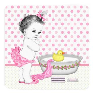 Girls Bath Time Baby Shower Card