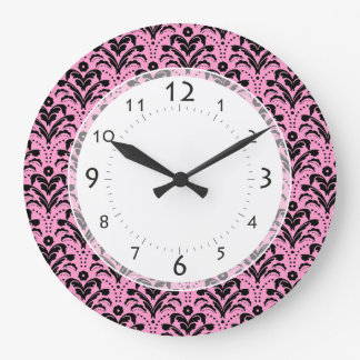 Girl's Bedroom, Salon Art Deco Pink and Black Large Clock