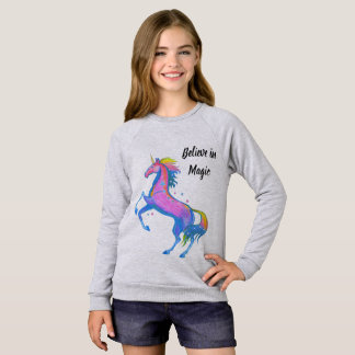 Girl's Believe in Magic Unicorn Sweatshirt