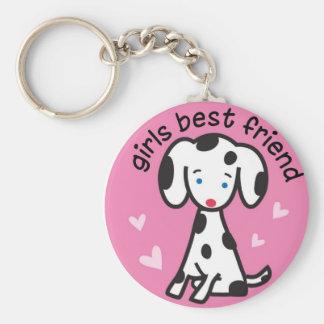 girls best friend basic round button keychain