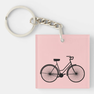 Girl's Bike -  U Pick Bkg Color Double-Sided Square Acrylic Keychain
