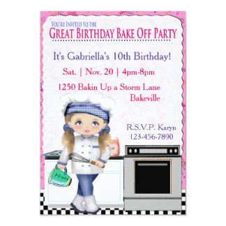 "Girls Birthday Bake Off Party 5"" X 7"" Invitation Card"