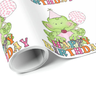 Girls Birthday frog with balloons wrapping paper