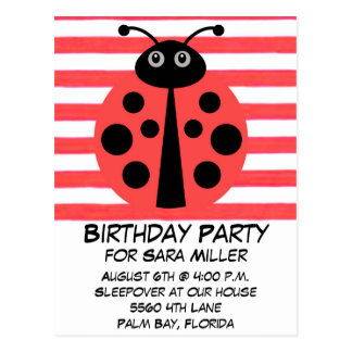 Girls Birthday Party Budget Postcard Invitation