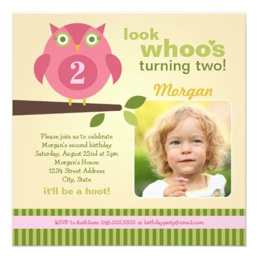 Girl's Birthday Party Photo Invitation | Owl Theme
