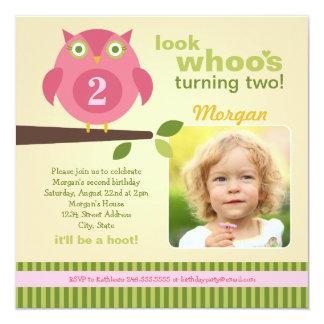 "Girl's Birthday Party Photo Invitation | Owl Theme 5.25"" Square Invitation Card"