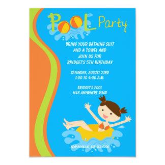 "Girls Birthday Pool Party Invitation 5"" X 7"" Invitation Card"
