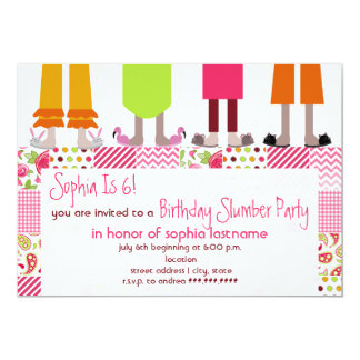 "Girls Birthday Slumber Party Sleepover Patchwork 5"" X 7"" Invitation Card"