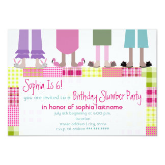 "Girls Birthday Slumber Party Sleepover Plaid 5"" X 7"" Invitation Card"